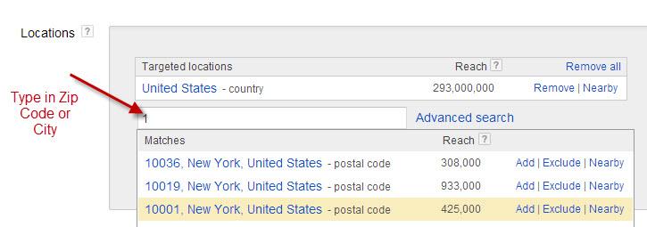 Adwords Geo Targeting