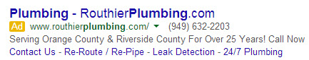 Routhier Plumbing PPC Ad