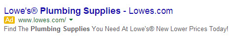 Lowes PPC Ad