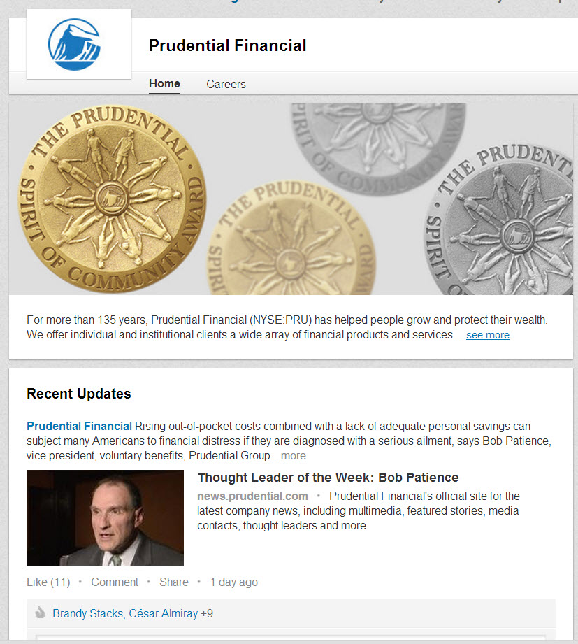 Prudential Financial Linkedin Page