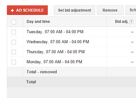 google ad schedule